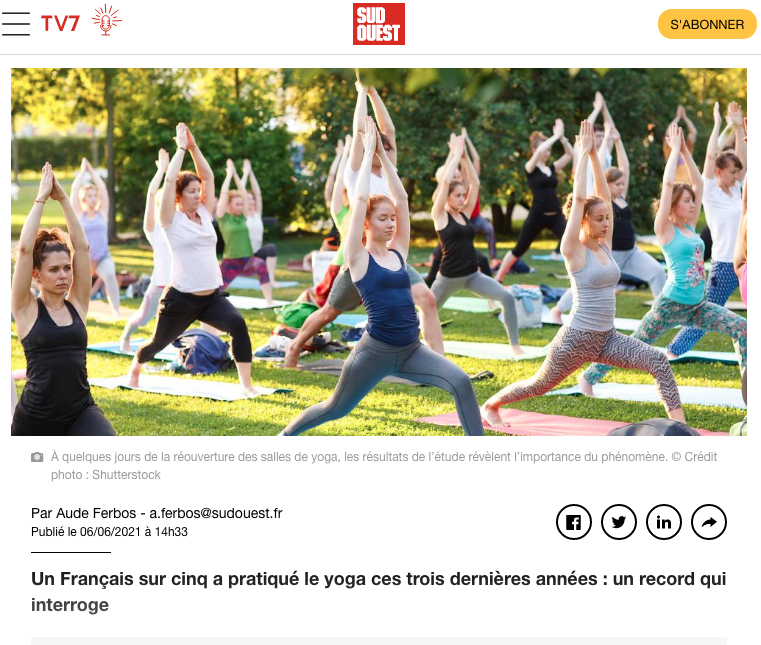 Article yoga Sud Ouest
